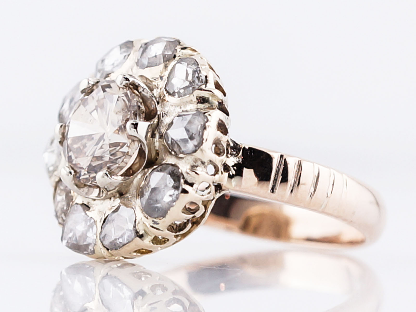 Antique Right Hand Ring Victorian 1.03 Round Brilliant Cut Diamond in 10k Yellow Gold-2
