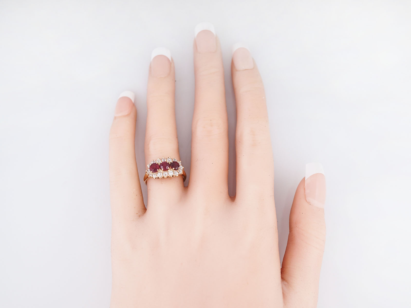 Antique Right Hand Ring Victorian 1.15 Ruby\'s & .70 Old European Cut ...