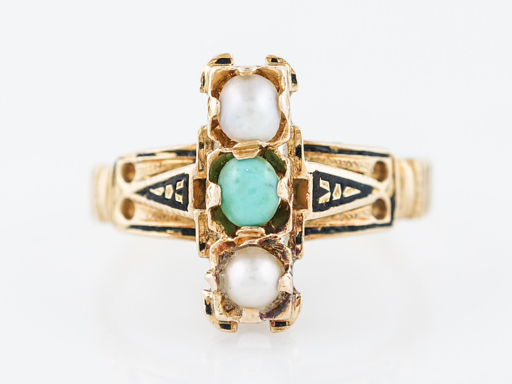 Antique Right Hand Ring Victorian Turquoise & Seed Pearls in 18k Yellow Gold-48