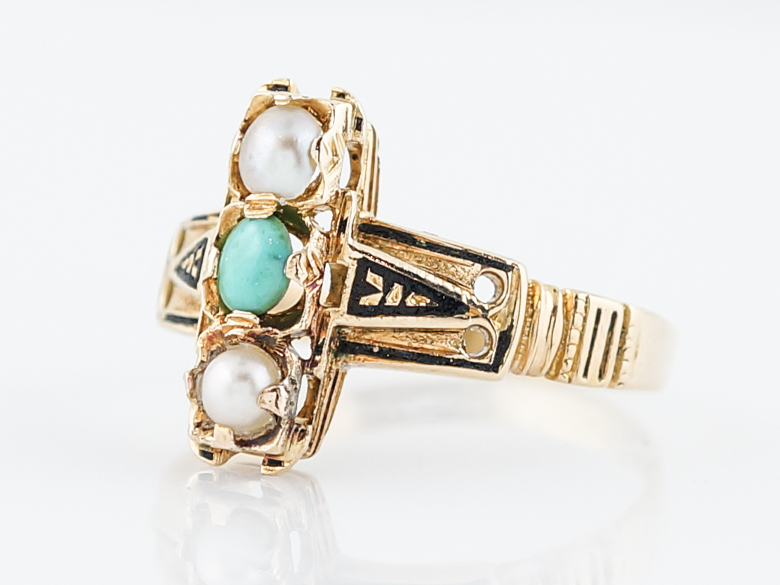 Antique Right Hand Ring Victorian Turquoise & Seed Pearls in 18k Yellow Gold-49