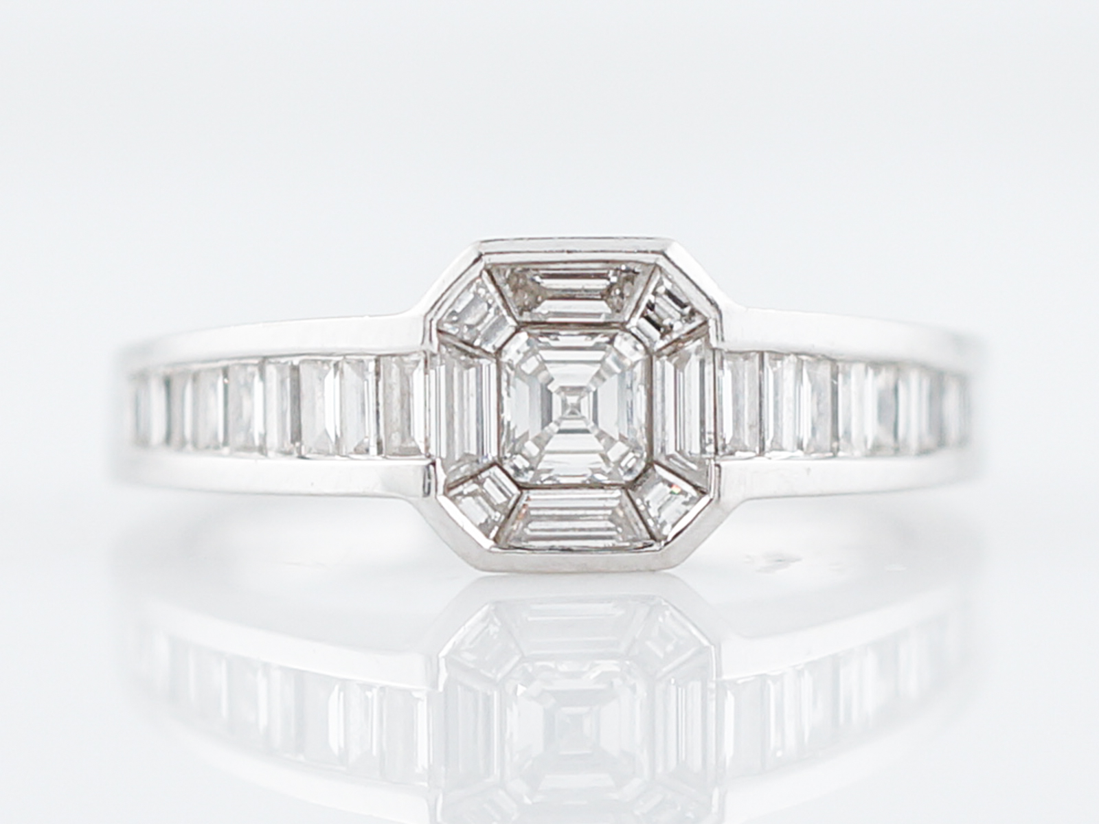 ring h ct diamond rings engagement asscher stone platinum three cut in