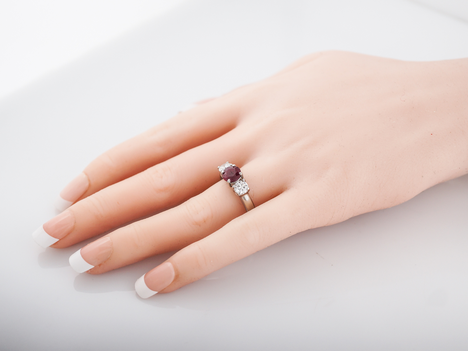 Engagement Ring Modern GIA 1.25 Round Cut Ruby in Platinum