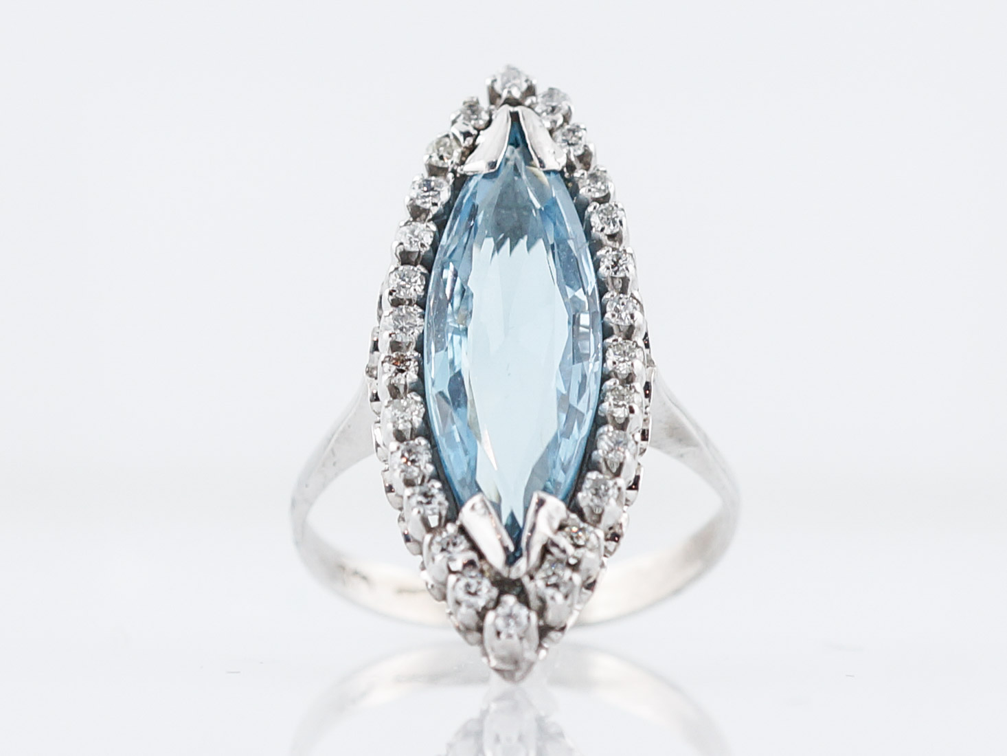 Vintage Cocktail Ring Mid-Century 1.58 Marquise Cut Aquamarine in 18k White Gold-1