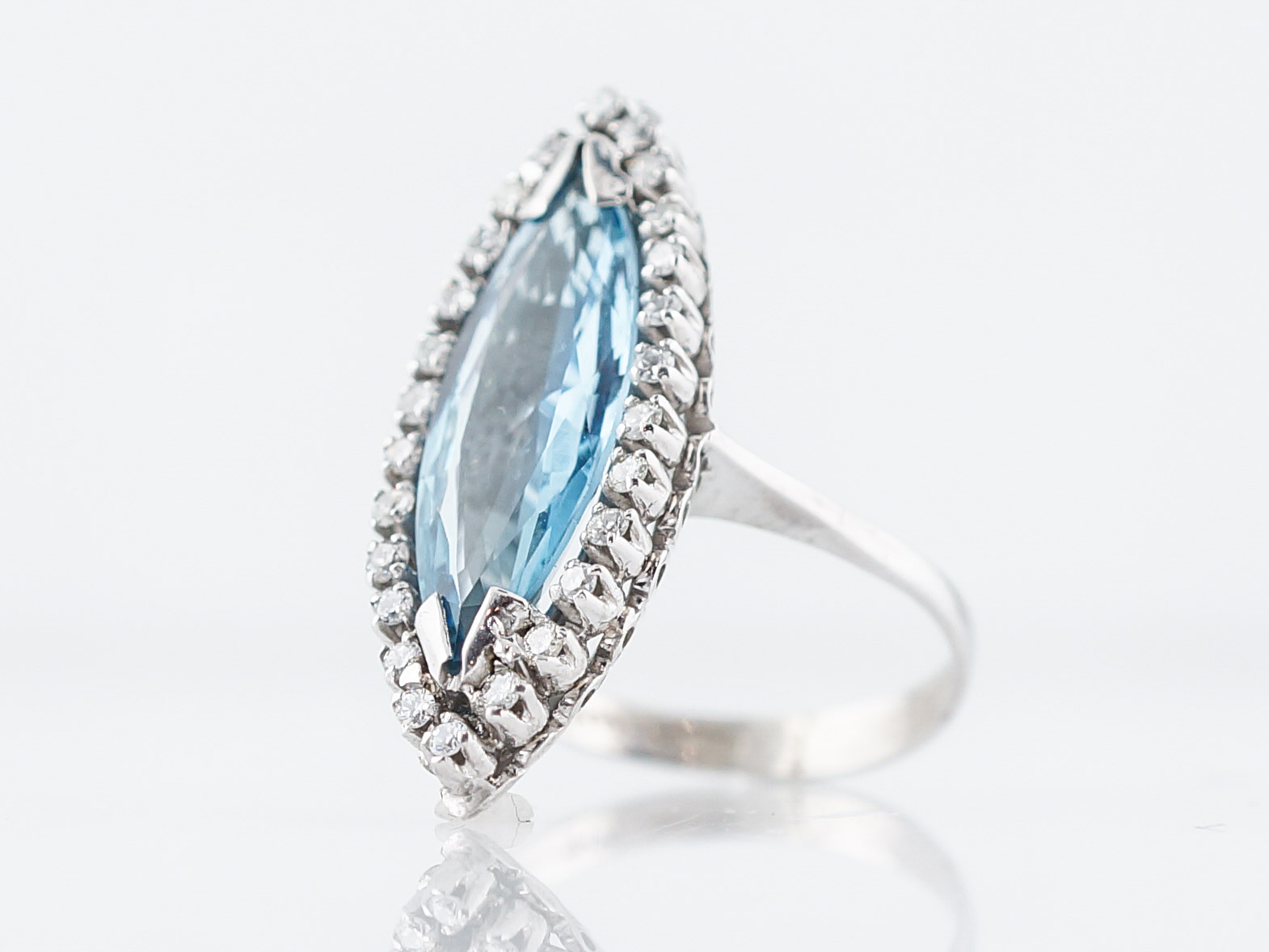Vintage Cocktail Ring Mid-Century 1.58 Marquise Cut Aquamarine in 18k White Gold-2