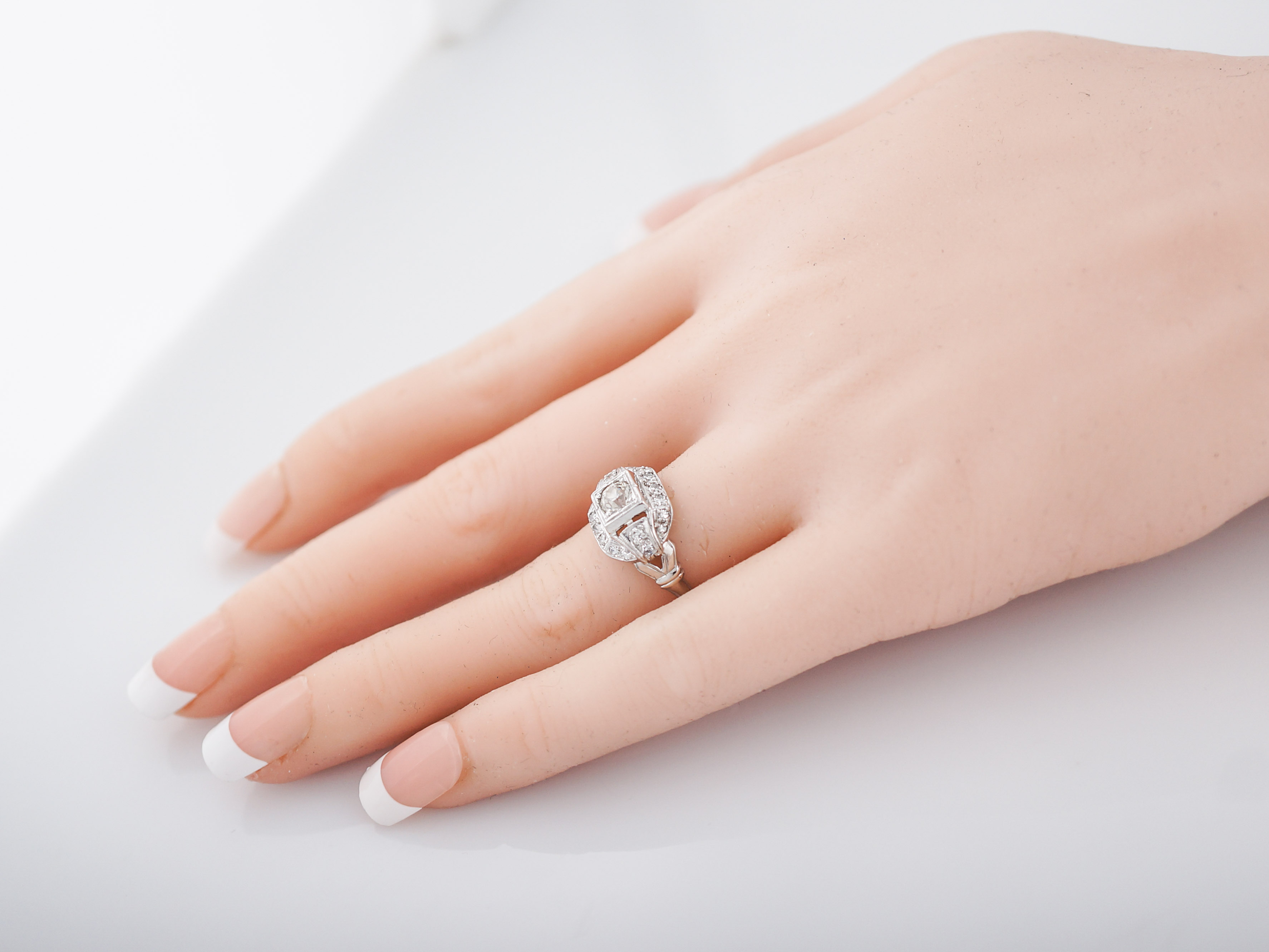Vintage Engagement Ring Art Deco .33 Old European Cut in 18k White Gold