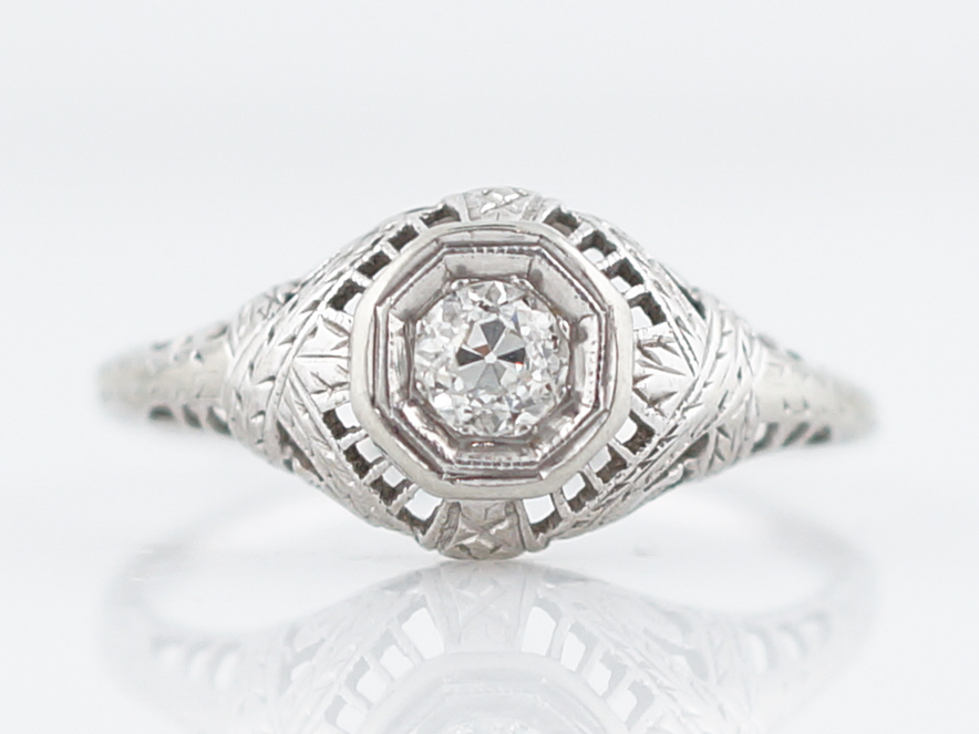 Old Mine Cut Diamond Ring Art Deco Filigree in 18k