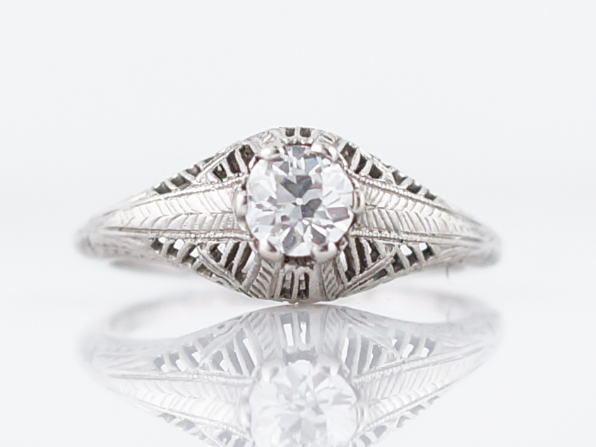 Antique Solitaire Diamond Ring Art Deco Filigree in 18k