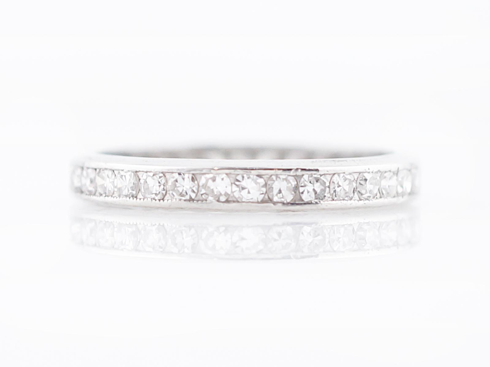 eternity ring white milgrain full diamond antique wedding round baguette gold rings art and deco band bands