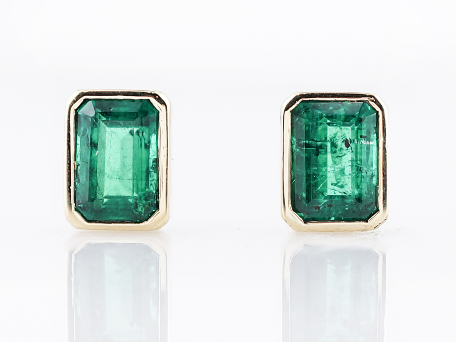 earrings certified gold diamond p solid emerald studs natural