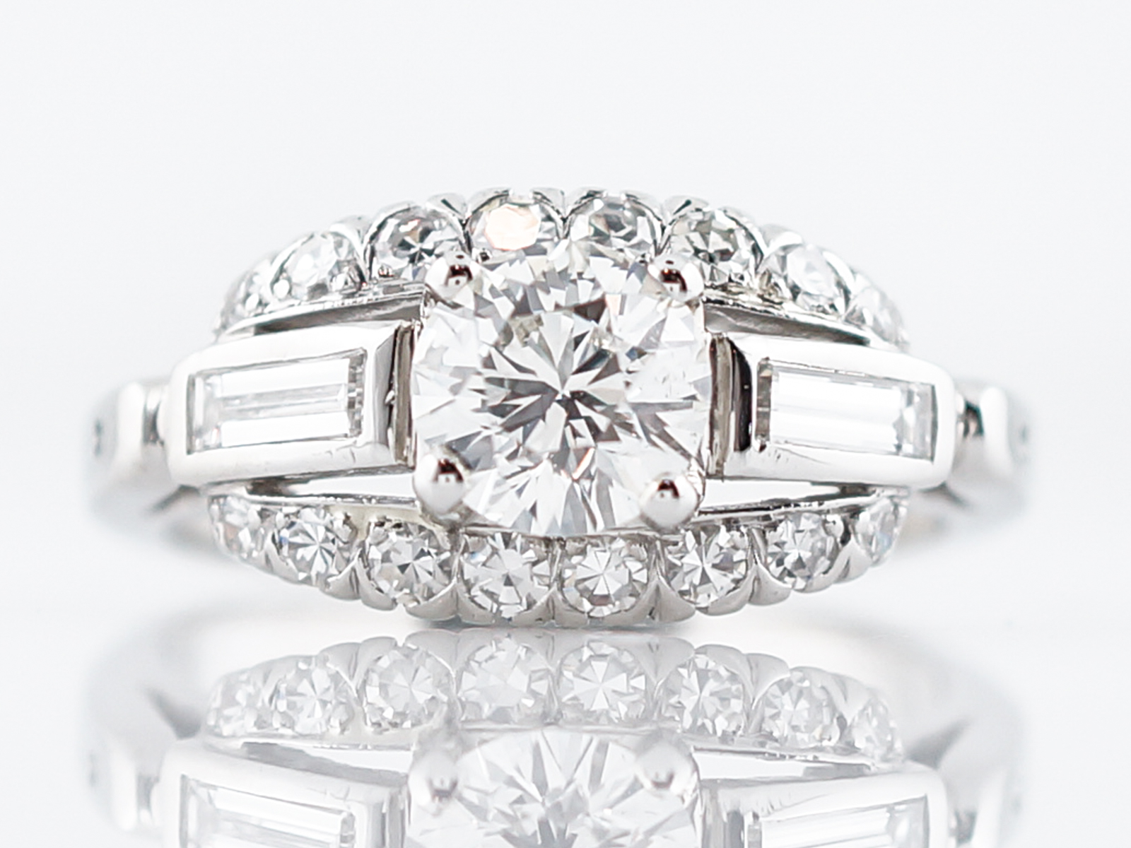 Estate Engagement Ring Late Art Deco in Platinum