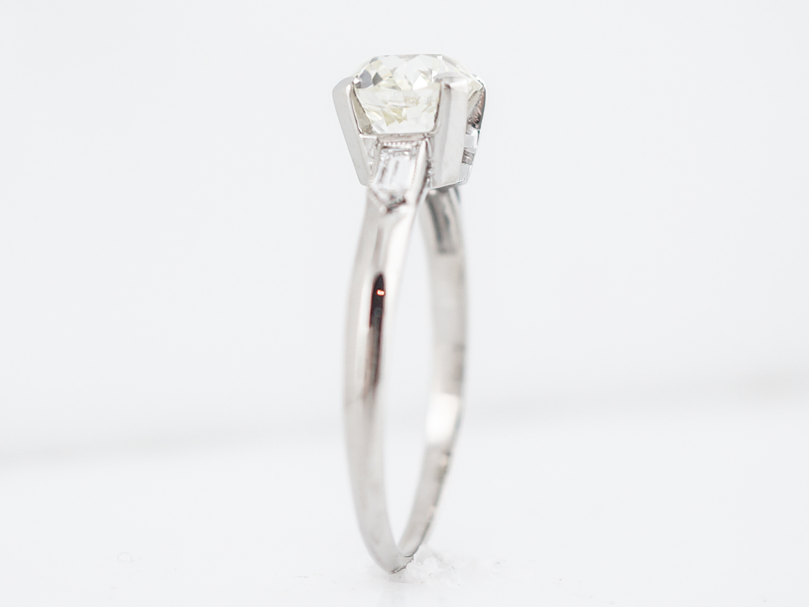 Antique Engagement Ring Art Deco 1.73 Old European Cut Diamond in Platinum -5