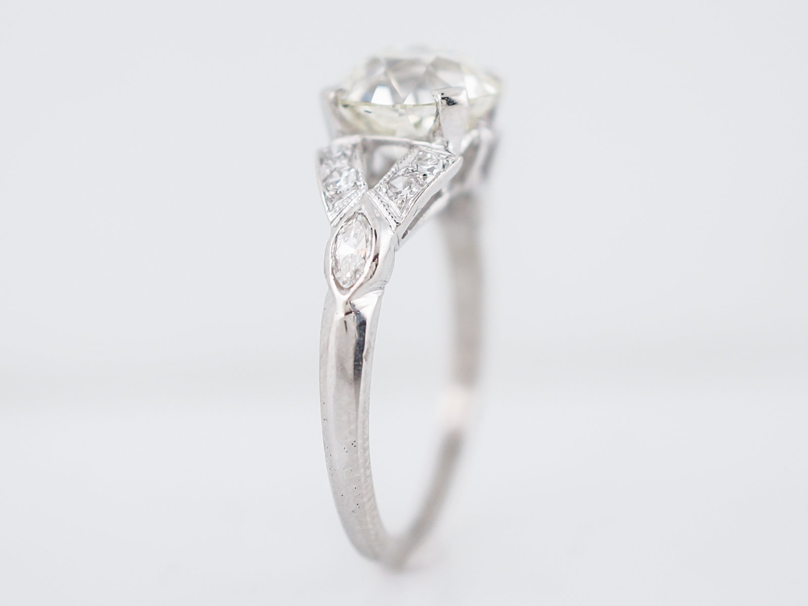 Antique Engagement Ring Art Deco 2.21 Old European Cut Diamond in Platinum-5