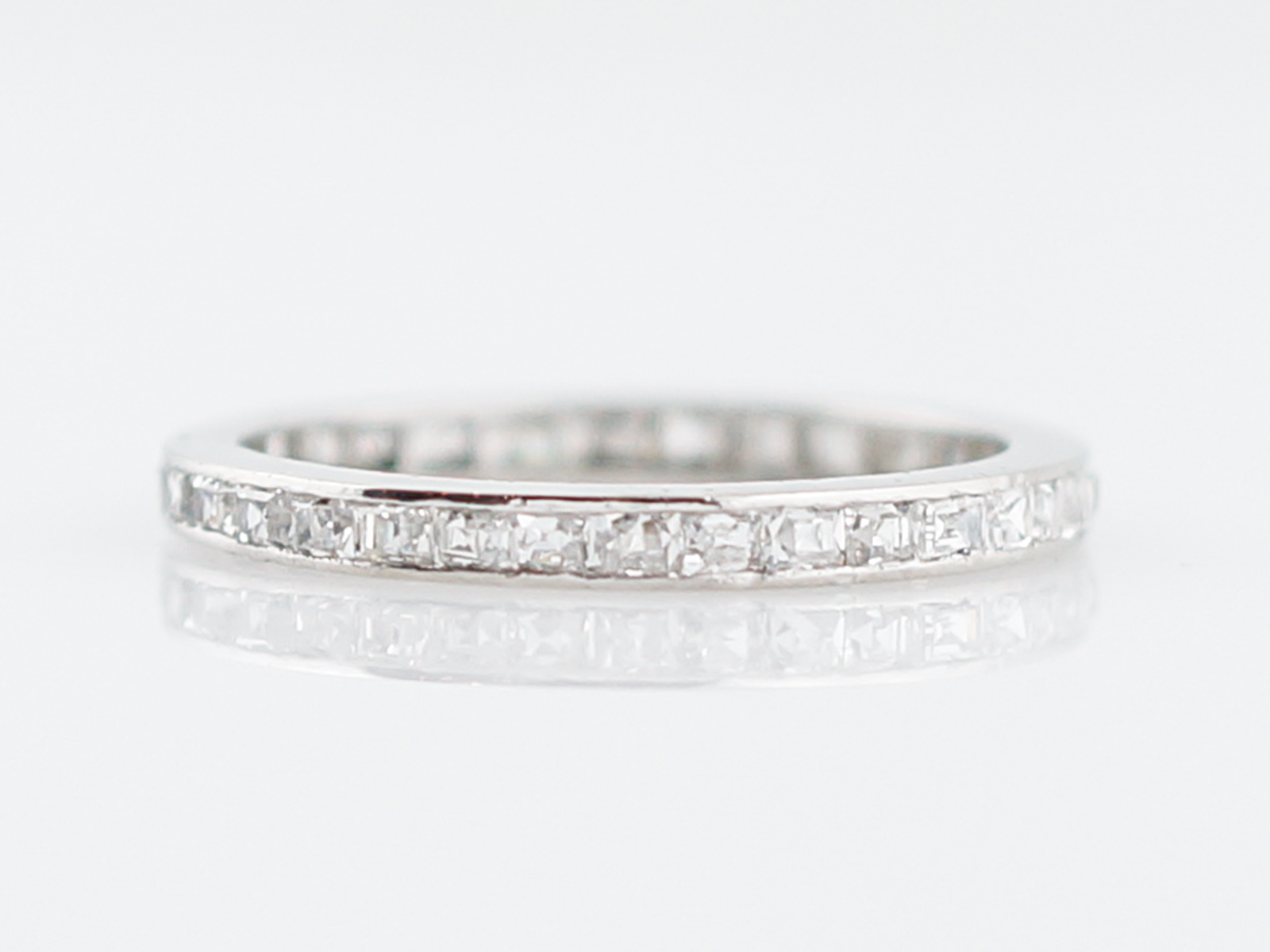 Antique Eternity Band Art Deco 66 Step French Cut Diamonds In Platinum 1