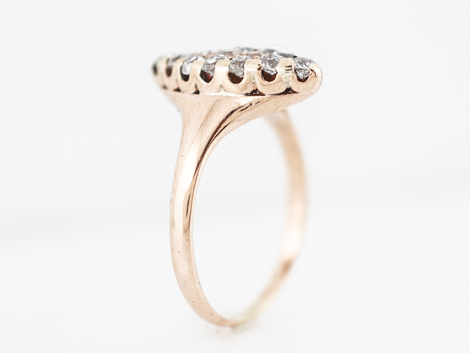 Antique Right Hand Ring Victorian .45 Old European Cut Diamonds in 14k Yellow Gold-5