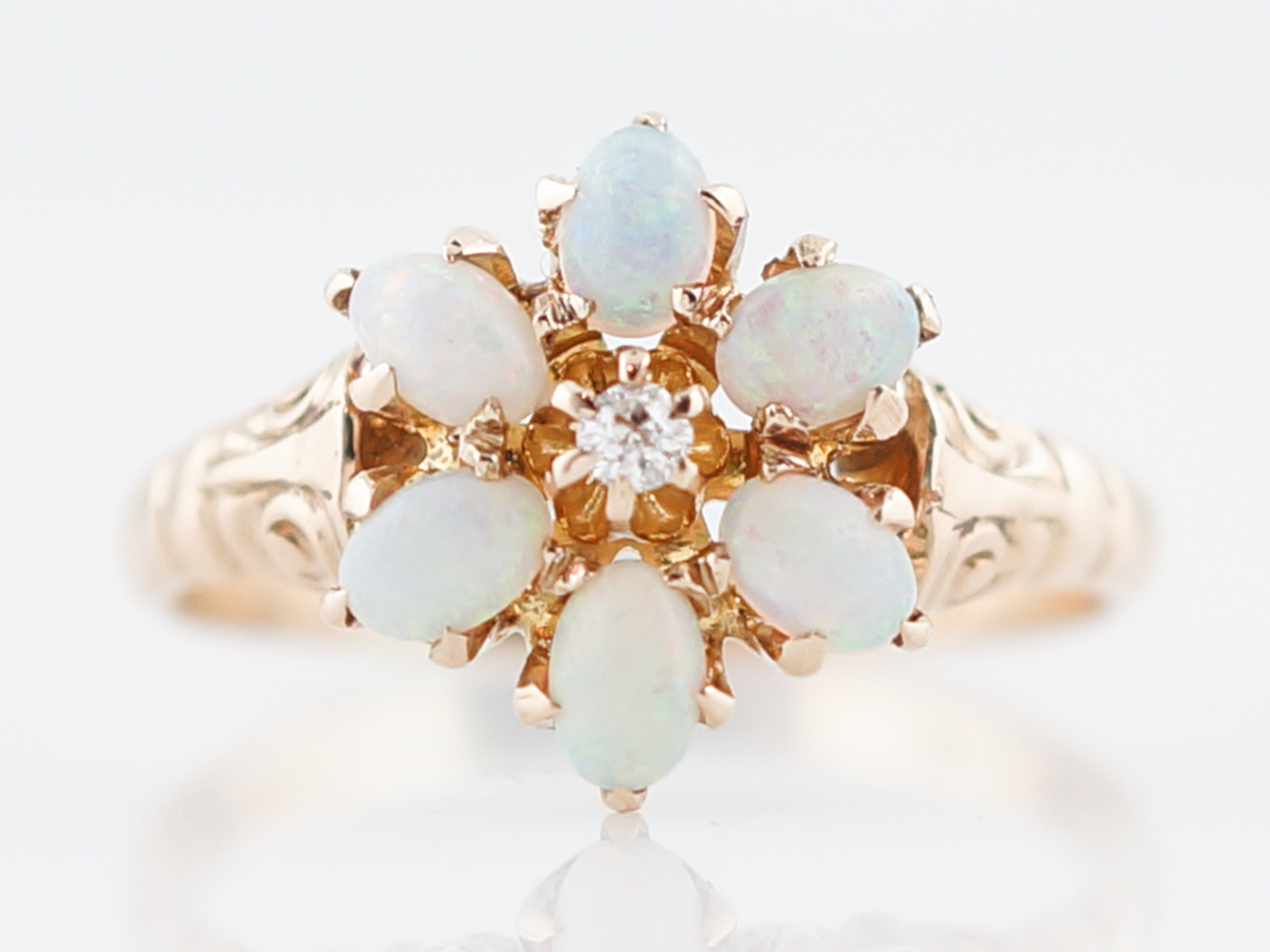 Antique Right Hand Ring Victorian .66 Cabochon Cut Opal & .11 Round Brilliant Cut Diamonds in 14k Yellow Gold -1