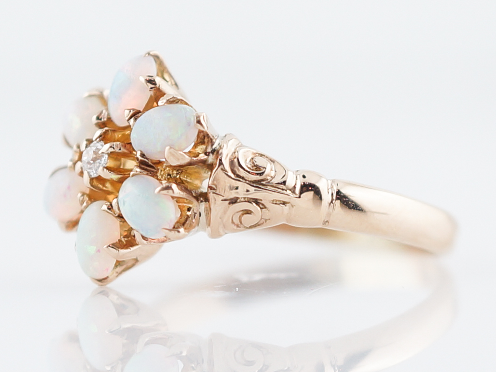 Antique Right Hand Ring Victorian .66 Cabochon Cut Opal & .11 Round Brilliant Cut Diamonds in 14k Yellow Gold -2