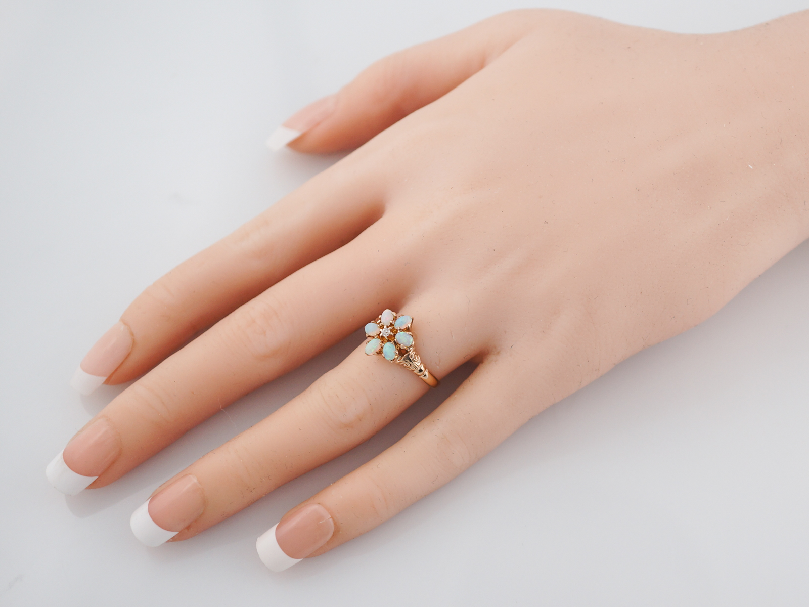 antique right hand ring victorian opal diamond 14kt gold
