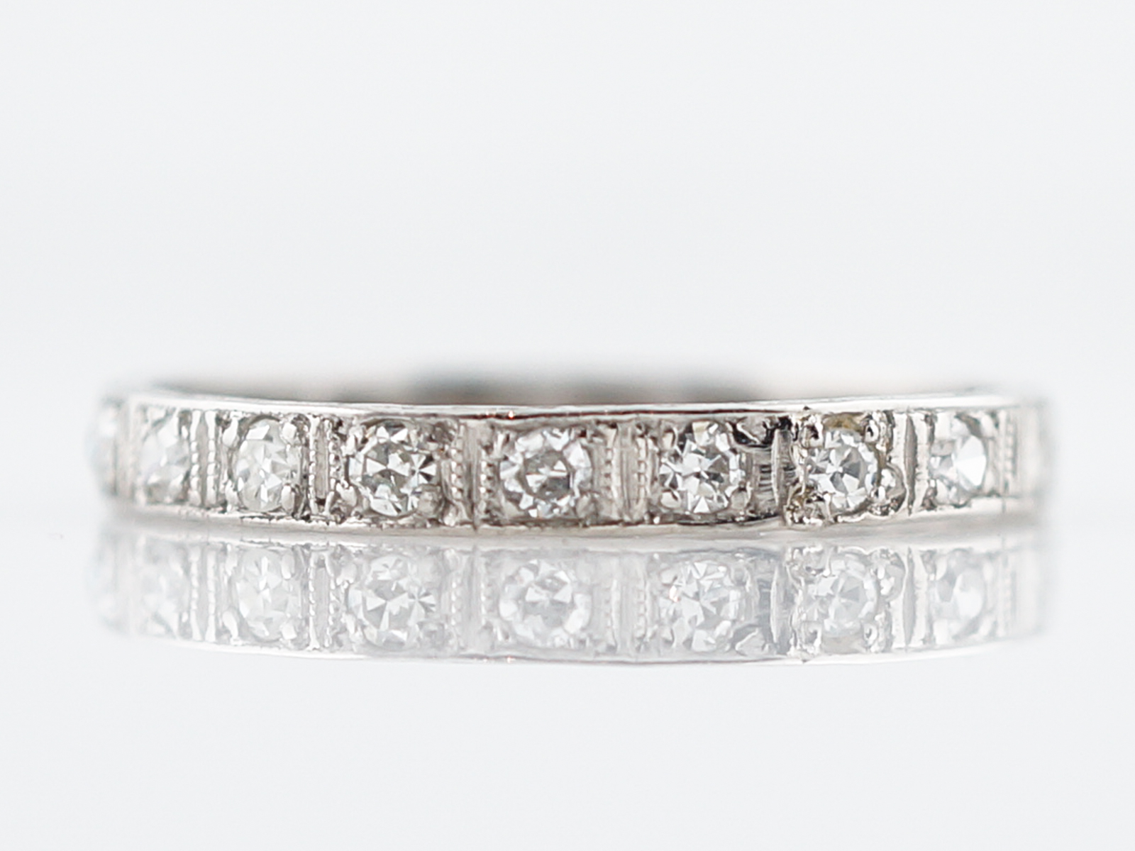 pave style c band diamond platinum bands eternity set wedding p antique