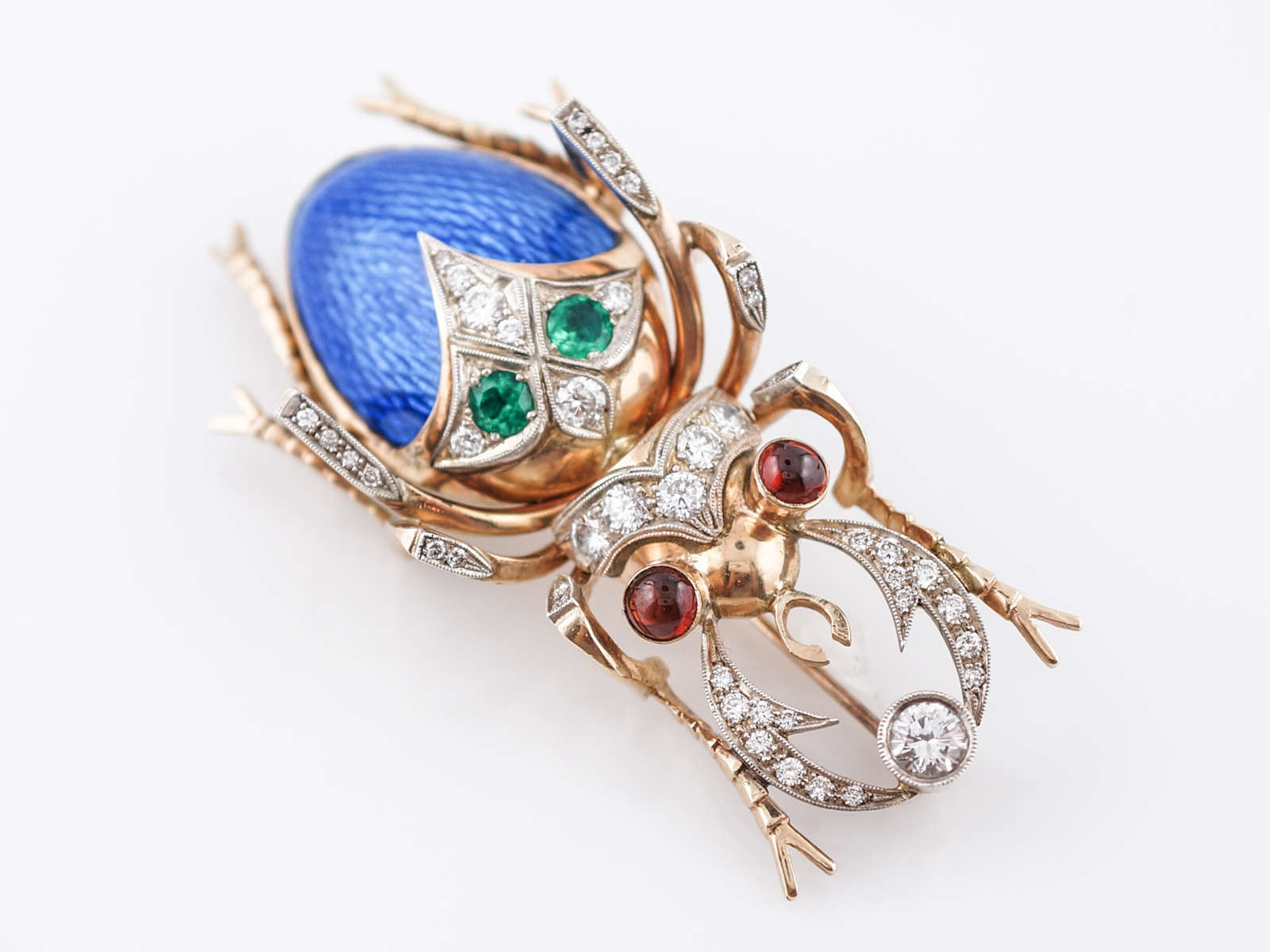 Beetle Pin Modern 1.09 Round Brilliant Cut Diamonds in 14k Yellow Gold-3