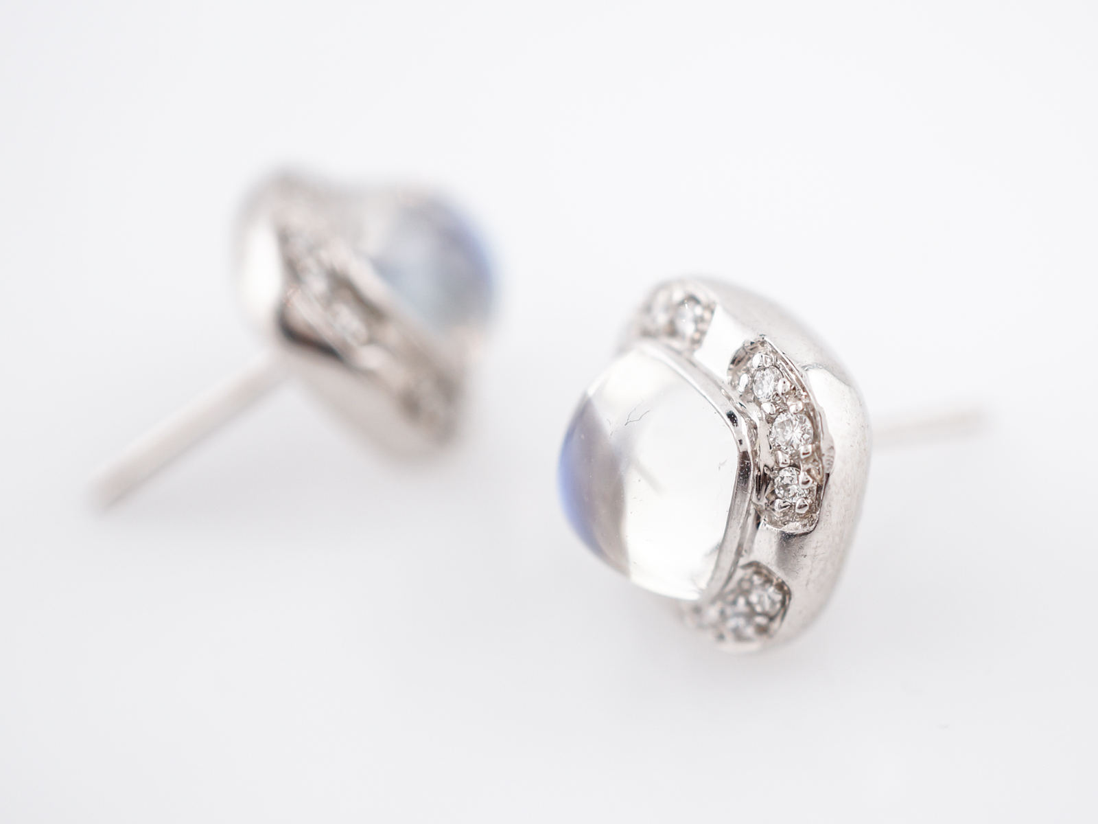 Earrings Modern 2.5 Sugarloaf Cabochon Cut Moonstones in 14k White Gold-6