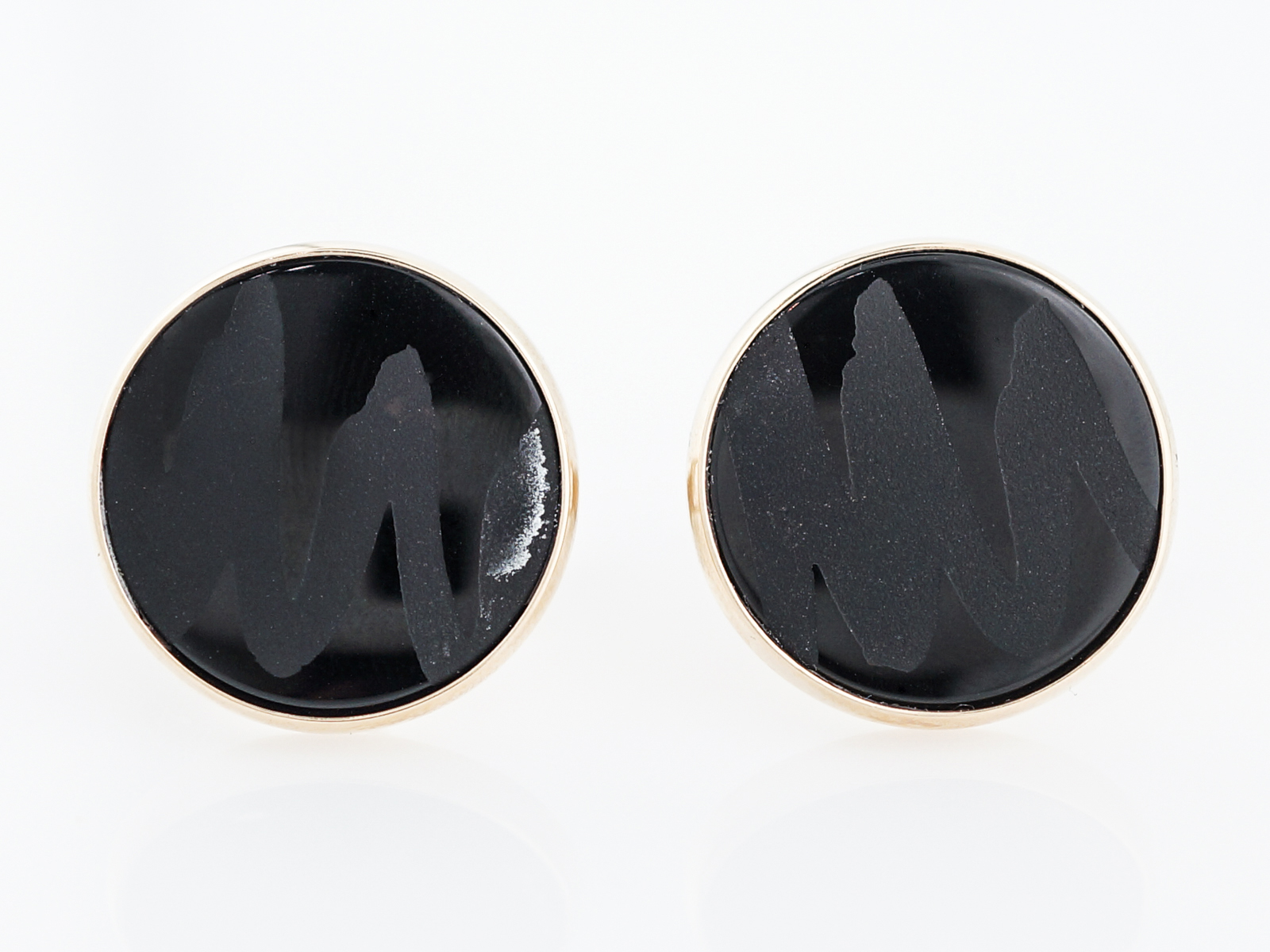 Men's Cufflinks Modern 19mm Round Cabochon Onyx in 14k White Gold-1