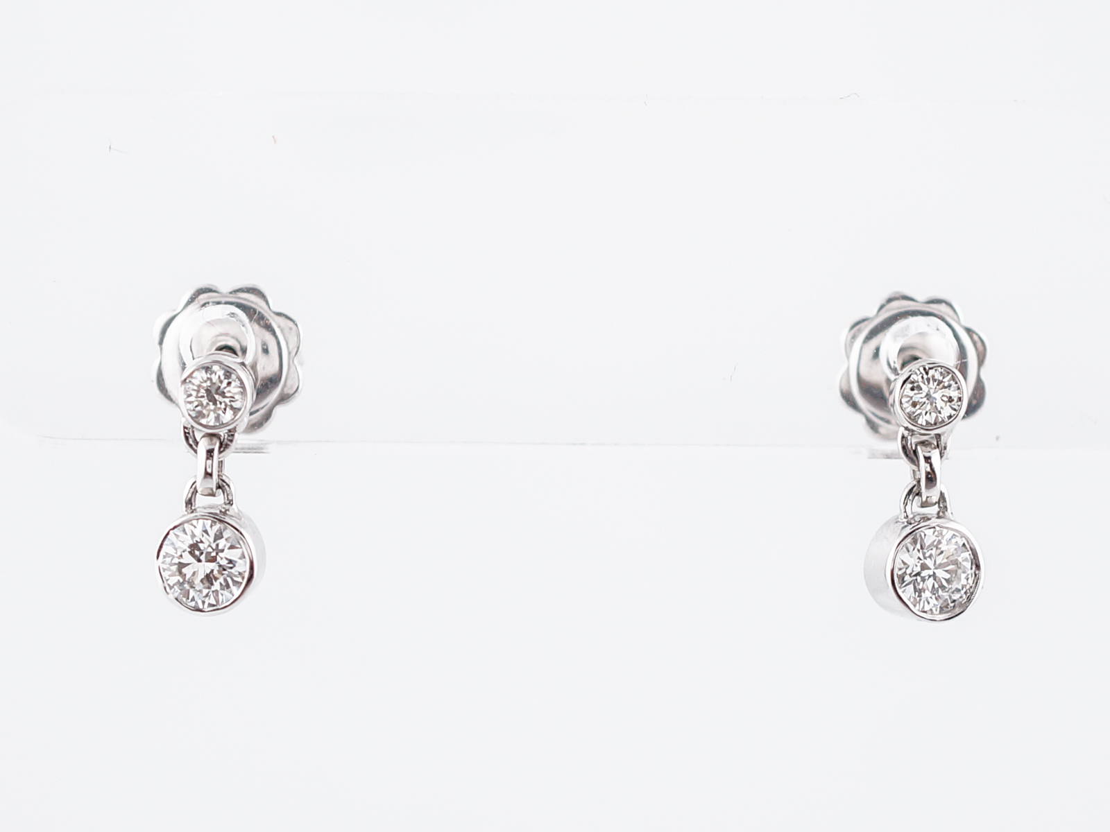 Modern Earrings .42 Round Brilliant Cut Diamonds in 14k White Gold-1