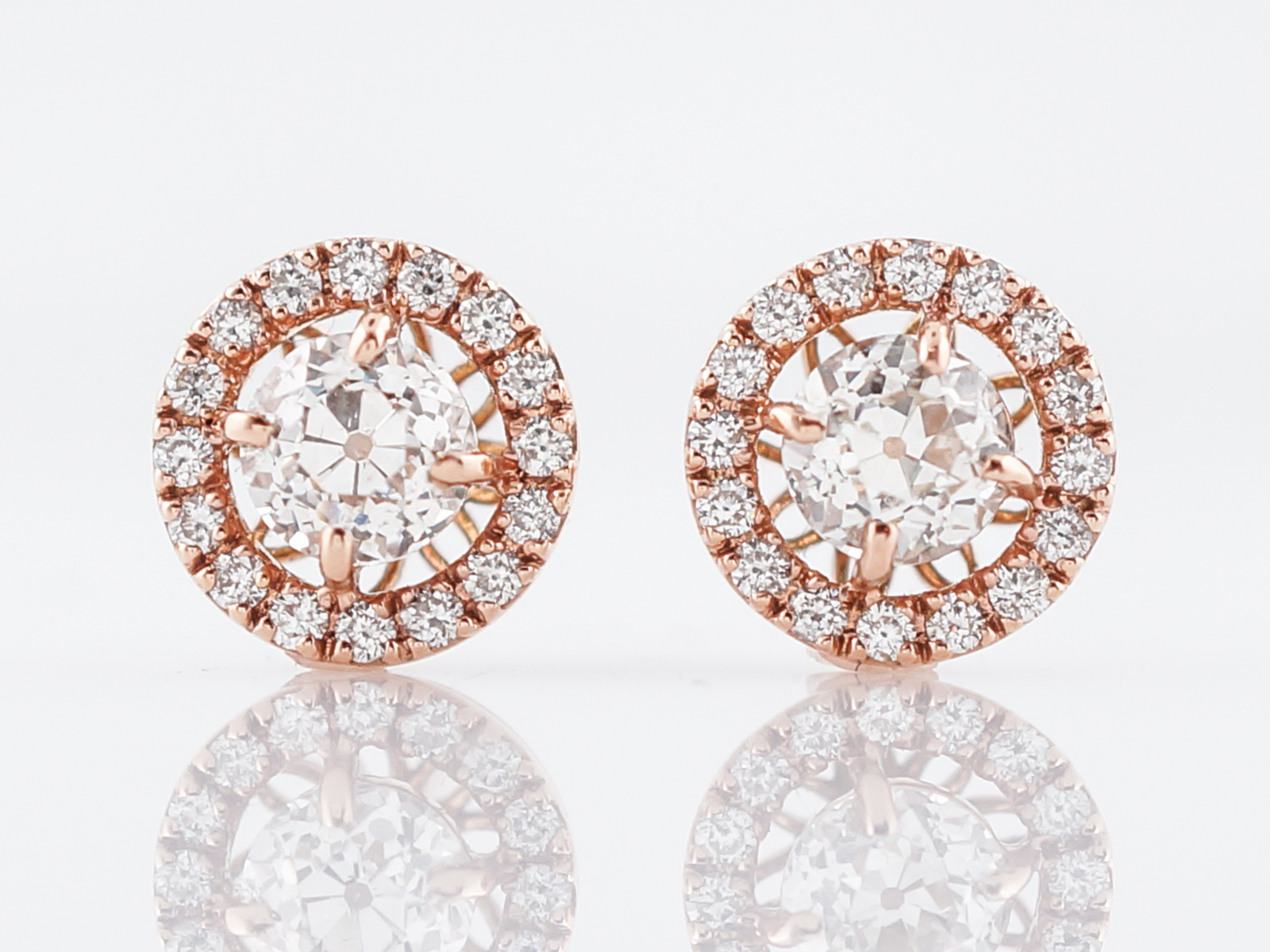 Halo Stud Earrings Modern 1.34 Old European Cut Diamonds in 14k Rose ... e445c815b2