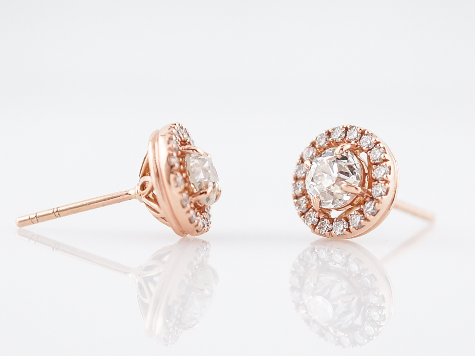 Modern Earrings 1.34 Old European Cut Diamonds in 14k Rose Gold-2