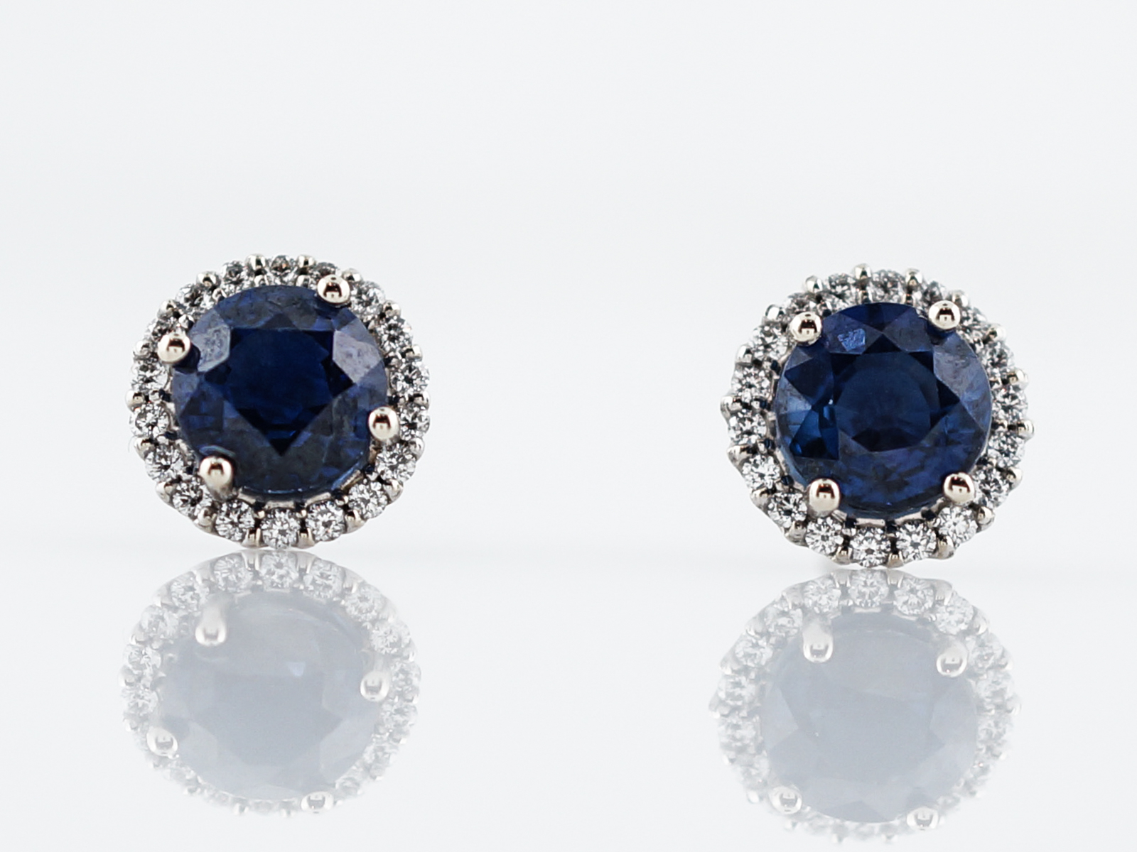 Modern Earrings 1.80 Round Cut Sapphires in 14k White Gold -1