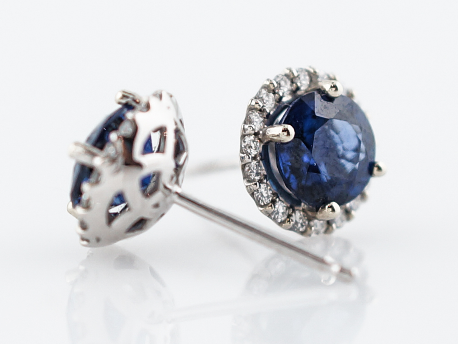 Modern Earrings 1.80 Round Cut Sapphires in 14k White Gold -2