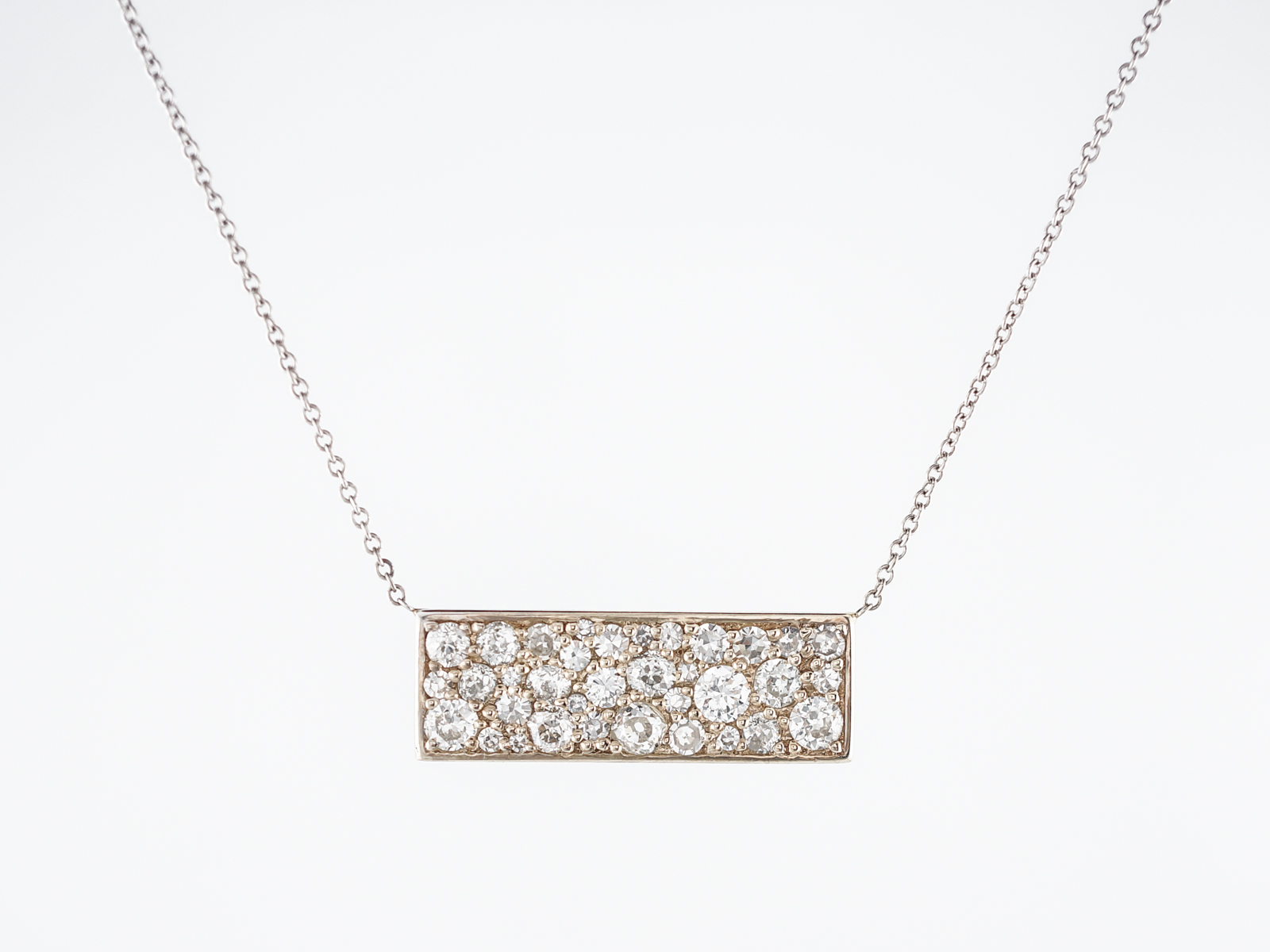 Modern Necklace 1.46 Old European, Mine & Single Cut Diamonds in 14k White Gold -1