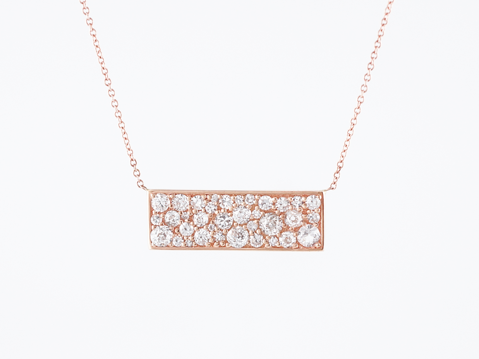 Modern Necklace 1.46 Single Cuts, Old European Cut, & Old Mine Cut Diamonds in 18k Rose Gold-1