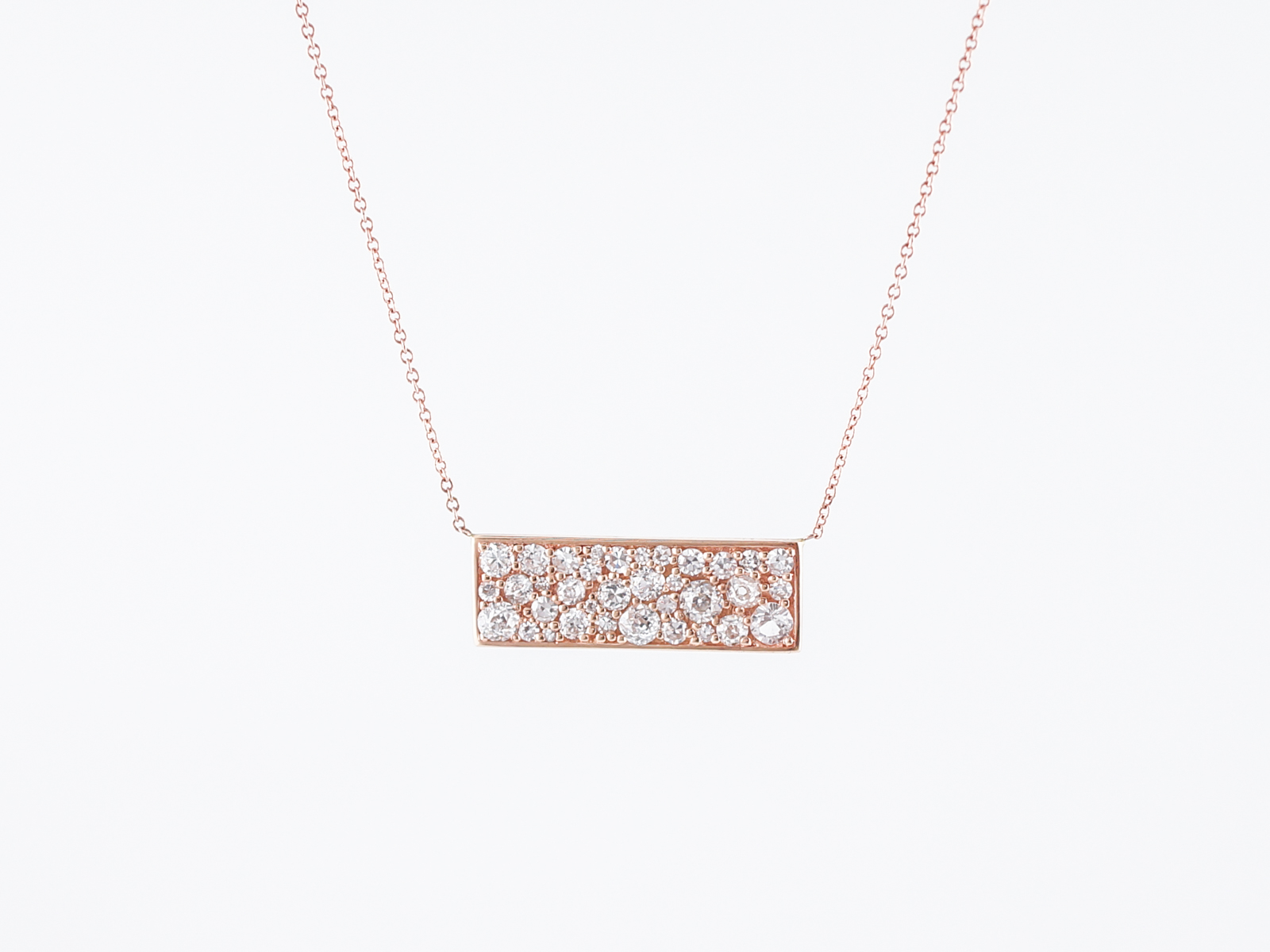 Modern Necklace 1.46 Single Cuts, Old European Cut, & Old Mine Cut Diamonds in 18k Rose Gold-2