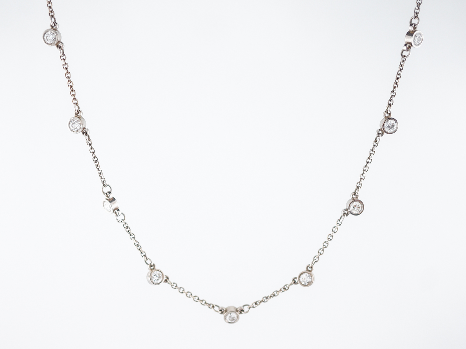 Modern Necklace 1.90 Round Brilliant Cut Diamonds in 14k White Gold-1