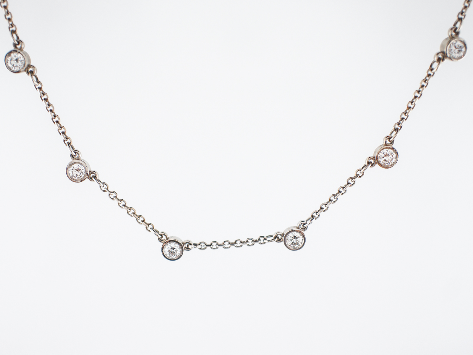Modern Necklace 1.90 Round Brilliant Cut Diamonds in 14k White Gold-2