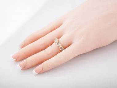 Modern Right Hand Ring 2.25 Oval Cut Aquamarine in 14K Yellow Gold