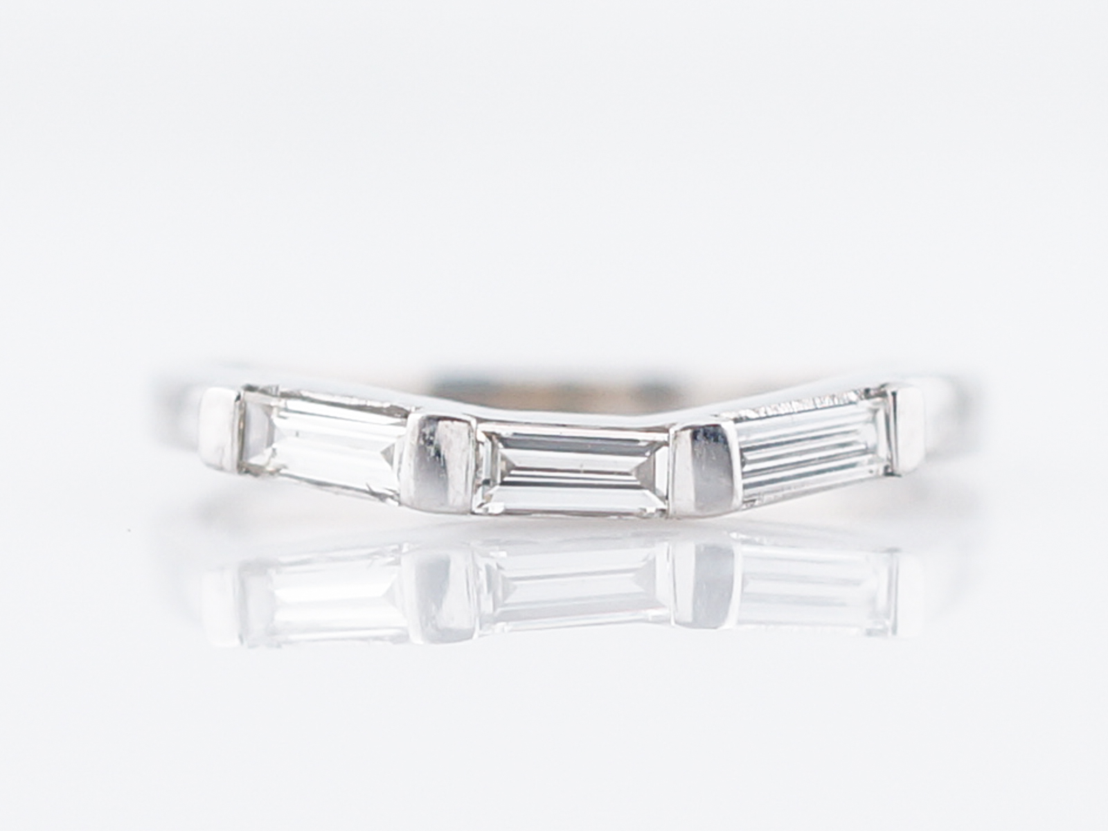 Modern Wedding Band 21 Baguette Cut Diamonds in Platinum