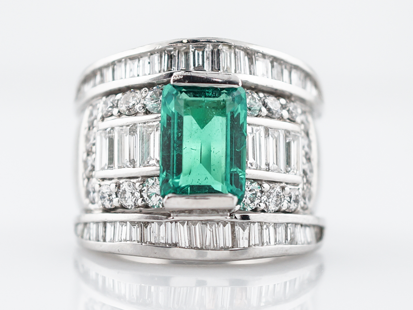 Right Hand Ring Modern 3.08 GIA Emerald Cut Emerald in Platinum -1