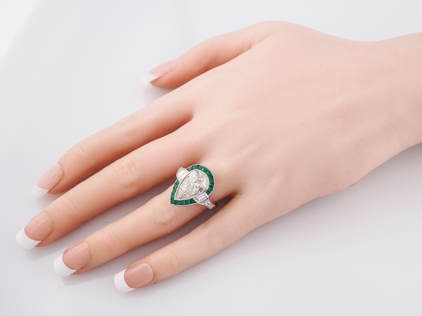 Fresh Pear Shaped Diamond Engagement Ring On Hand - Best Jewelry