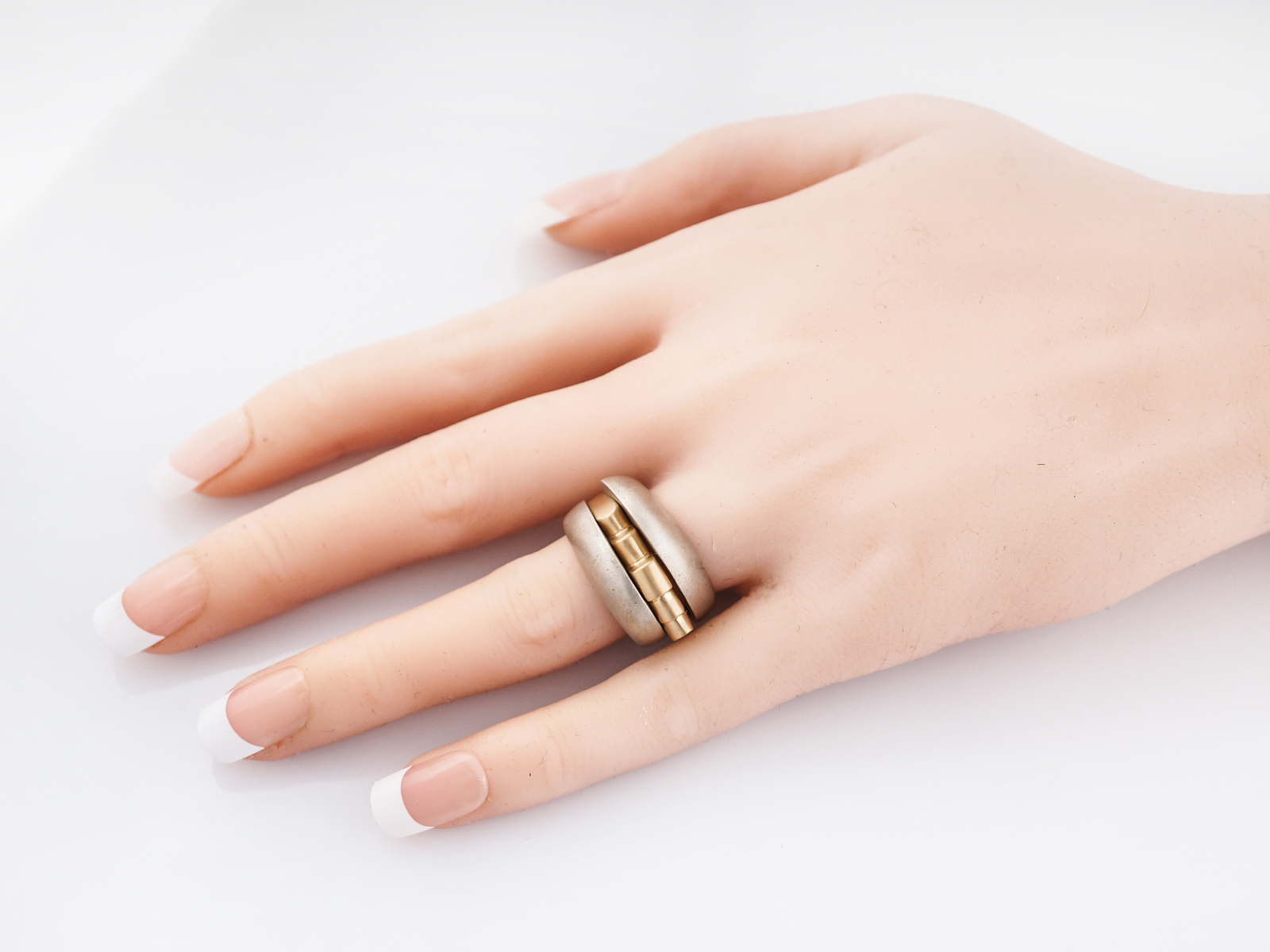 Right Hand Ring Modern Combo In Sterling Silver 14k Yellow Gold
