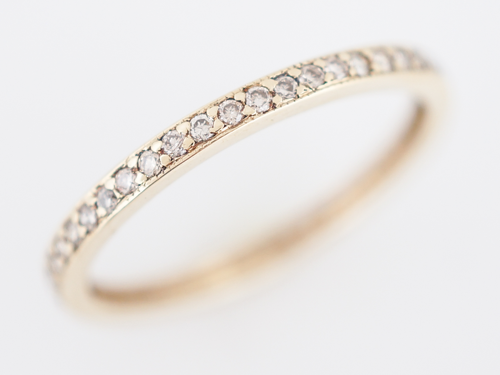 Wedding Band Modern .24 Round Brilliant Cut Diamond in 14k Yellow Gold-2