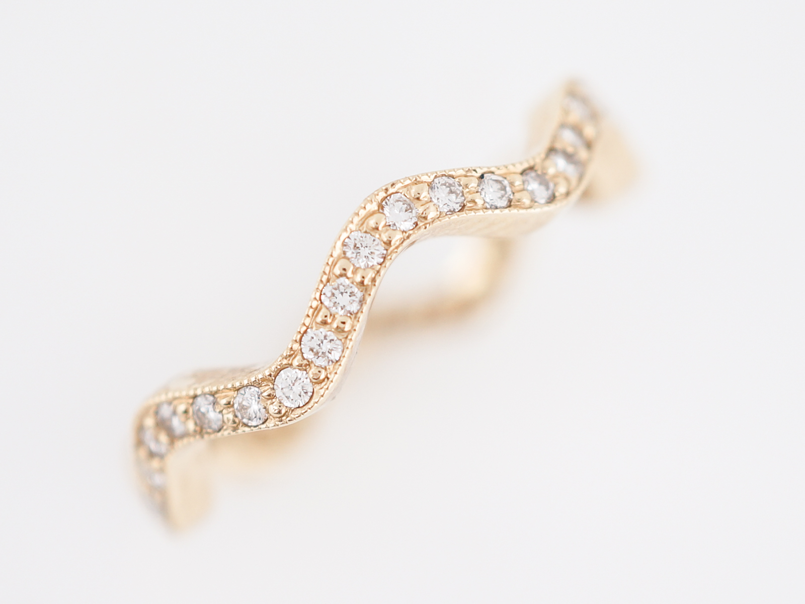 Wedding Band Modern .63 Round Brilliant Cut Diamonds in 14k Yellow Gold-2
