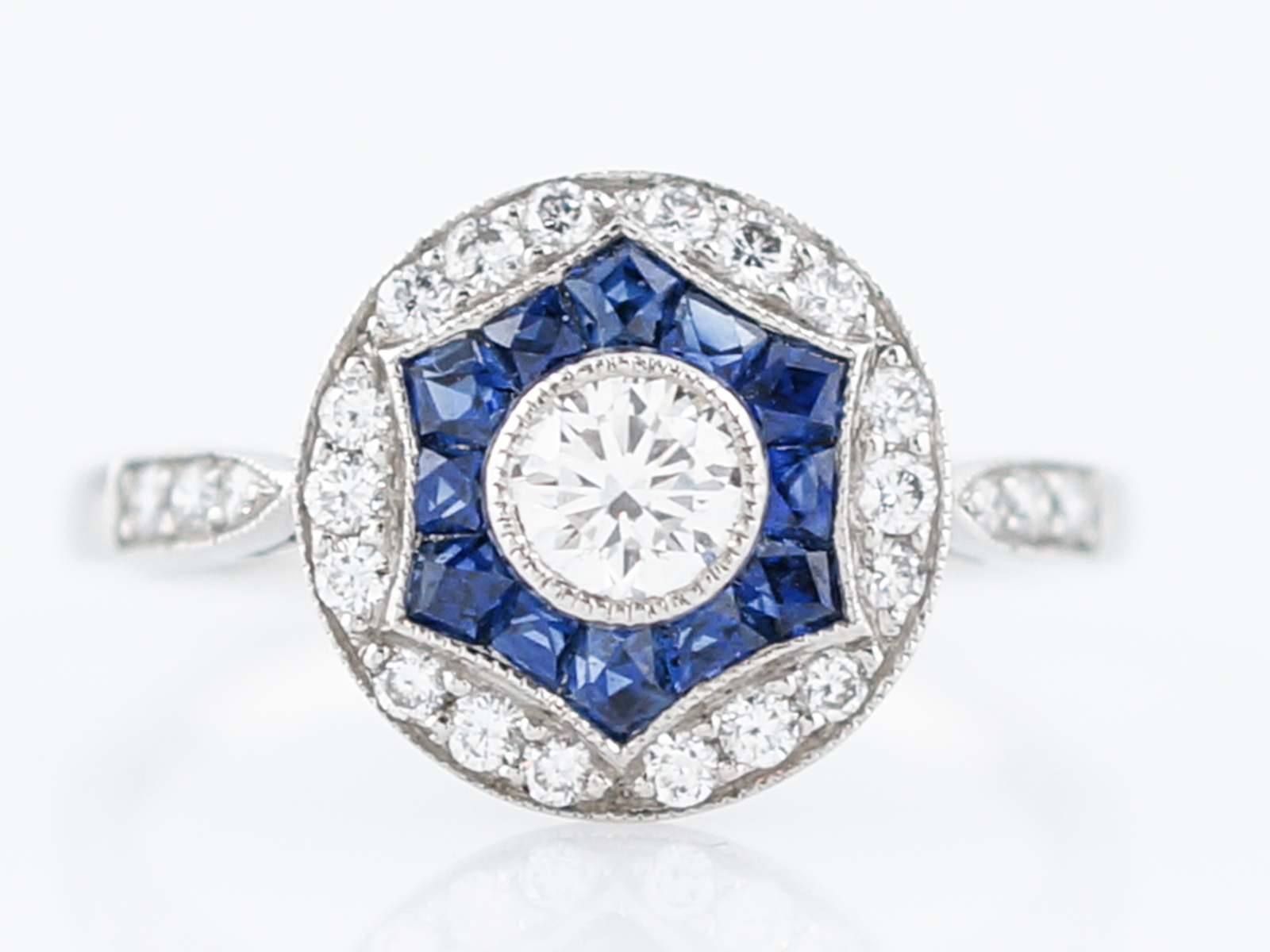 .50 Carat Diamond & Sapphire Halo Engagement Ring