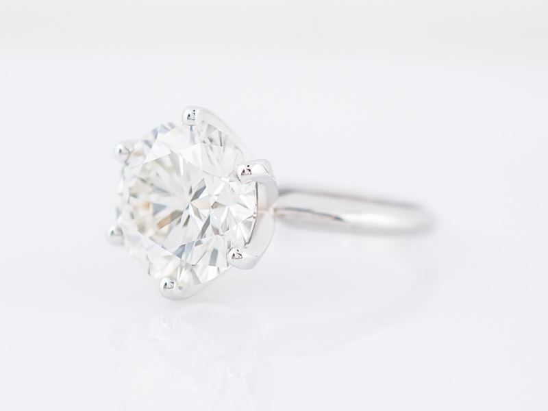 Engagement Ring Modern GIA 5.05 Round Brilliant Cut Diamond in 18k White Gold