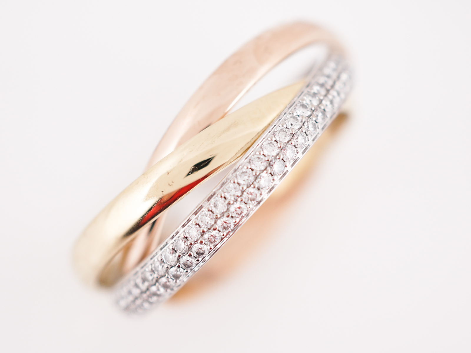 wedding multicolor ref ring two three beautiful tones of cartier gold rings trinity