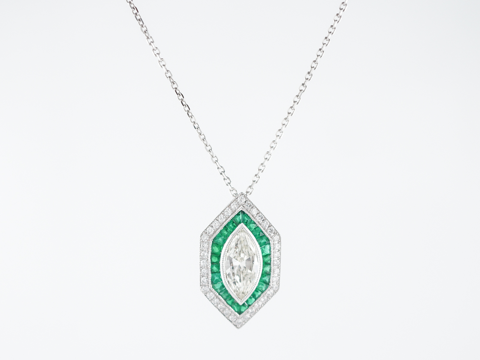necklace marquise horizontal pendant diamond halo