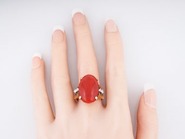 Vintage Right Hand Ring Mid-Century Coral & .20 Round Brilliant Cut Diamonds in 14k Yellow Gold