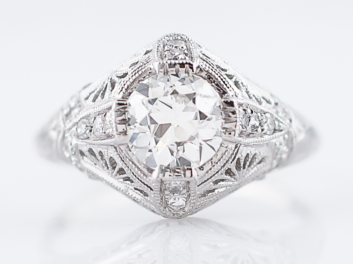 Vintage Platinum Filigree Diamond Engagement Ring