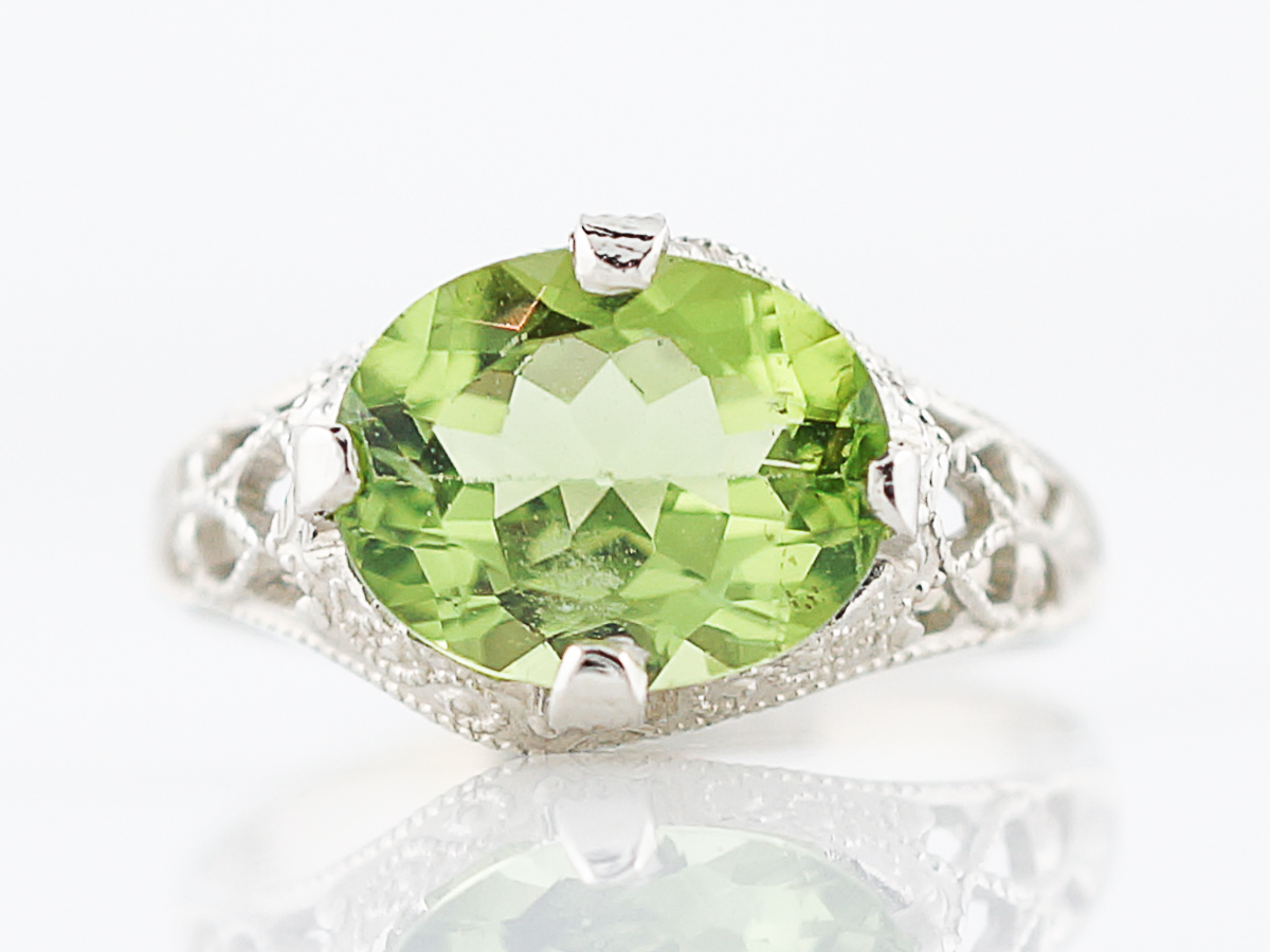 Antique Right Hand Ring Edwardian 2.20 Oval Cut Peridot in 14K White ...