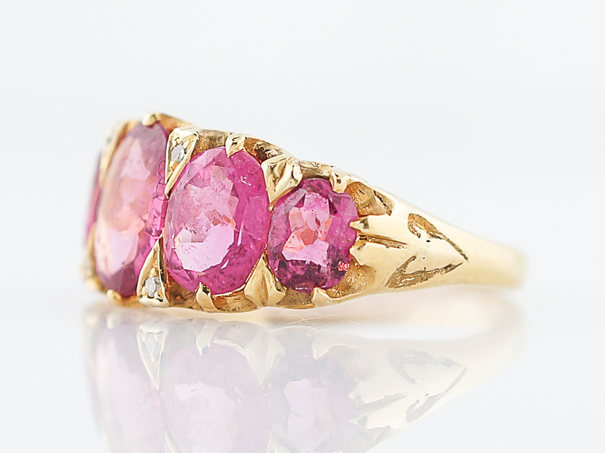 Antique Right Hand Ring Victorian 3.32 Oval Pink Tourmaline in 18k ...
